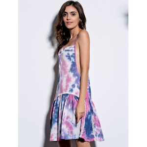 Alluring Spaghetti Strap Colorful Printed Women's Dress - COLORMIX M