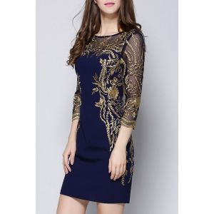 Embroidered Mini See Through Dress -