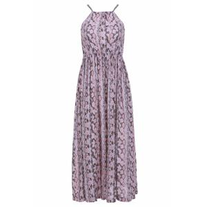 Maxi Printed Chiffon Boho Slip Beach Dress - Shallow Pink - L