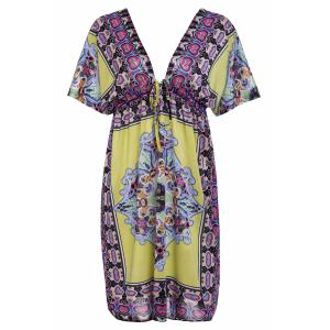 Bohemian Plunging Neck Short Sleeve Printed Women's Dress -