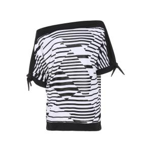 Casual Short Sleeve Striped Women's Plus Size T-Shirt