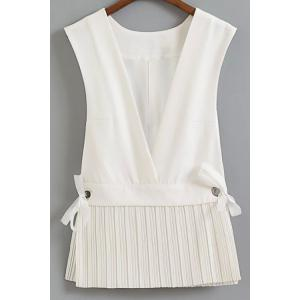 Stylish Low Cut Pleated Hem Women's Waistcoat