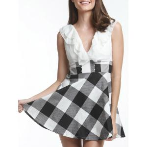 Sweet V-Neck Checked Lace-Up Selvedge Design Women's Dress - White - One Size