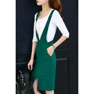 Fashionable V Neck Buttoned Slit Suspender Dress + All-Match Tee Twinset For Women -