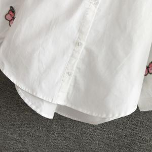 Chic Lantern Sleeve Butterfly Embroidered Shirt For Women -