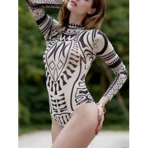 Geometrical Long Sleeve Turtleneck Bodysuit