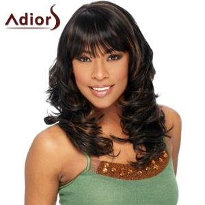 Stunning Brown Highlight Long Shaggy Wavy Capless Full Bang Adiors Wig For Women
