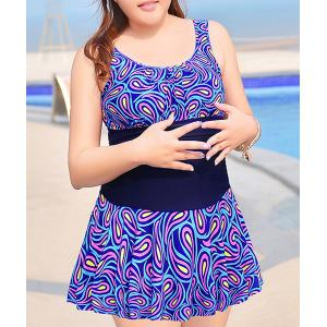 Trendy U Neck Sleeveless Print Splicing Women's Plus Size Swimwear - Blue - 4xl