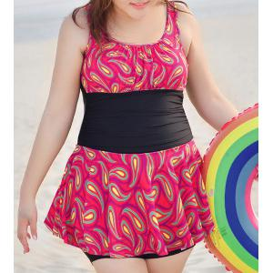 Trendy U Neck Sleeveless Print Splicing Women's Plus Size Swimwear
