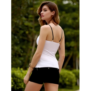Brief Spaghetti Strap Metal Button Tank Top For Women -