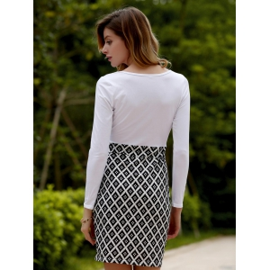Surplice Geometric Print Long Sleeve Fitted Dress - WHITE S