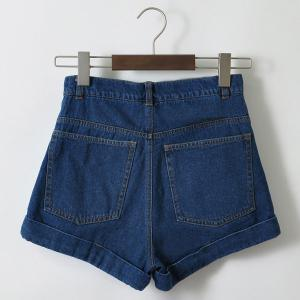 Casual High Waist Loose Fitting Solid Color Denim Shorts For Women -