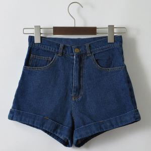 Casual High Waist Loose Fitting Solid Color Denim Shorts For Women - DEEP BLUE L