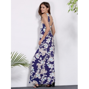 Sleeveless Floral Printed Maxi Dress - PURPLISH BLUE S