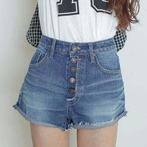 Casual High Waist Button Fly Hemming Denim Shorts For Women -