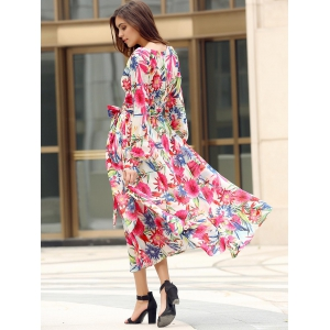 Bohemian Style V Neck Long Sleeve Colorful Floral Print Self Tie Belt Dress For Women -