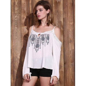 Graceful Spaghetti Strap Long Sleeve Embroidered Cold Shoulder Blouse For Women - WHITE S