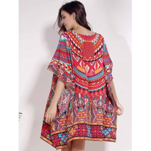 Retro Style V Neck Batwing Sleeve Ethnic Print Loose Dress For Women -