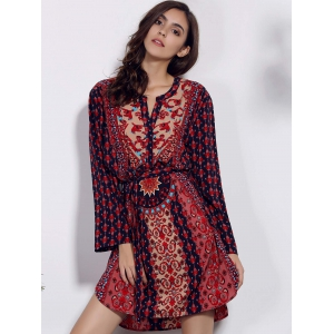 Retro Style V Neck Long Sleeve Ethnic Print Self Tie Belt Dress For Women -