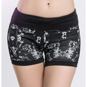 Fashionable Elastic Waist Printed Skinny Women's Yoga Shorts