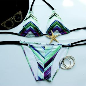 Trendy Halterneck Printed   Bikini Set For Women