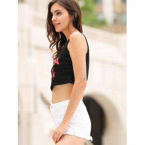 Stylish Scoop Neck Letter Printed Crop Top For Women -