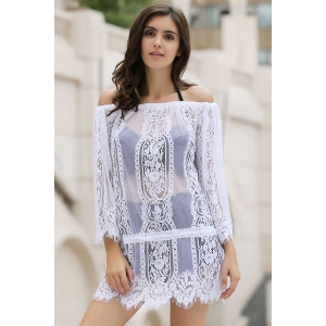 Stylish Off The Shoulder Long Sleeve White Lace Women's Cover Up -