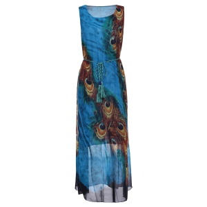 Bohemian Scoop Neck Sleeveless Printed Ankle-Length Women's Dress - Blue And Yellow - L