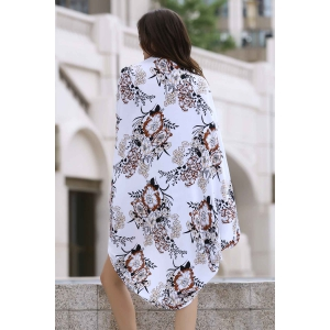 Stylish Collarless Lantern Sleeve Loose Printed Women's Cover Up -