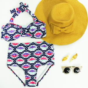 Vintage Halter High-Waisted Print Bikini Set For Women