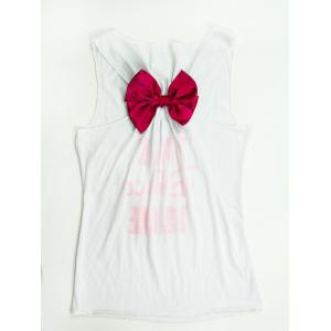 Women's Stylish U-Neck Letter Hollow Out Bowknot Decorated Tank Top - White - S