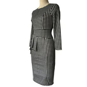Plaid  Sheath Pencil Work Long Sleeve Peplum Dress - WHITE AND BLACK M