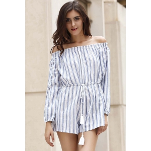 Alluring Off-The-Shoulder Striped Women's Playsuit -