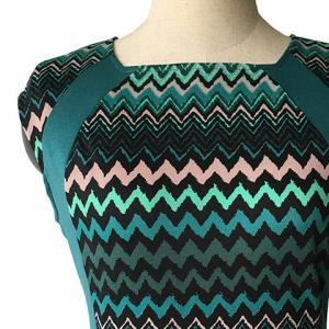 Vintage Style Round Neck Sleeveless Zigzag Stripe Pencil Dress For Women -