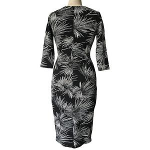 Vintage Style Round Neck 3/4 Sleeve Fireworks Print Slimming Dress For Women - BLACK S