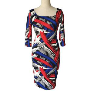 Stylish Square Neck 3/4 Sleeve Colorful Printed Plus Size Bodycon Dress For Women
