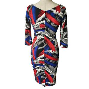 Stylish Square Neck 3/4 Sleeve Colorful Printed Plus Size Bodycon Dress For Women - COLORMIX S