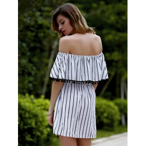 Trendy Off The Shoulder Striped Fringed Backless Women's Dress -