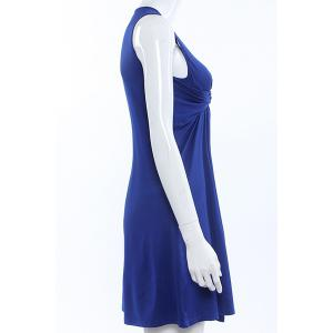 Stylish Women's Plunging Neck Pleated Solid Color Dress -