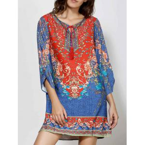 Retro Style V-Neck Full Floral Print 3/4 Sleeve Dress For Women