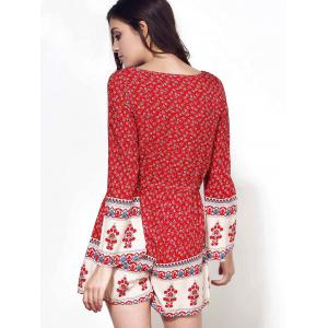 Ethnic Plunging Neck Long Sleeve Printed Drawstring Women's Romper - RED S