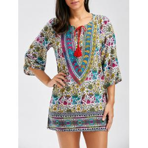 Vintage Style V-Neck Full Print 3/4 Sleeve Dress For Women