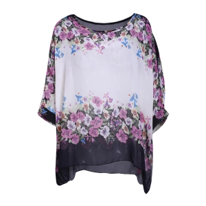Refreshing Scoop Neck Flower Print Batwing Sleeve Women's Chiffon Blouse - White - L