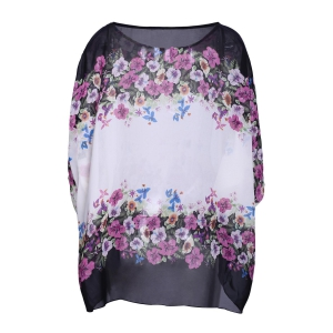 Refreshing Scoop Neck Flower Print Batwing Sleeve Women's Chiffon Blouse -