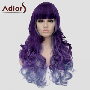 Adiors Long Curly Full Bang Heat Resistant Synthetic Wig For Women - COLORMIX