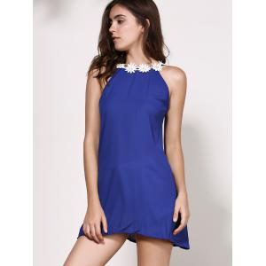 Floral Jewel Neck Backless Sleeveless Dress For Women - PURPLISH BLUE S
