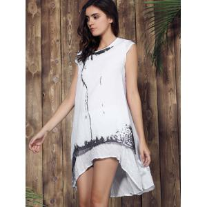Casual Scoop Neck Ink Print Short Sleeve Dress For Women -