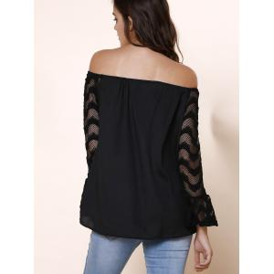 Fashionable Off-The-Shoulder Lace Spliced Sleeve Black T-Shirt For Women -