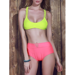 Sexy Racerback High-Waisted Bikini Set For Women - YELLOW L