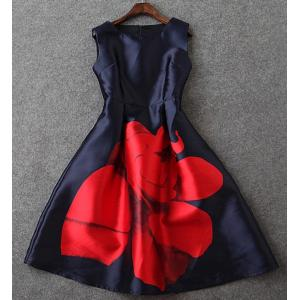 Elegant Sleeveless Floral Printed High Waist Sundress For Women